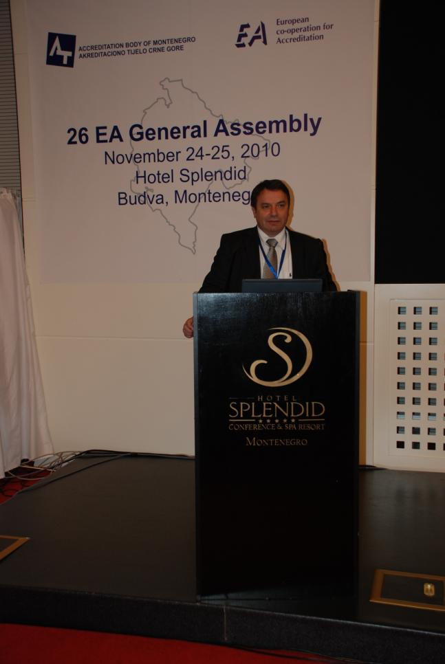 Ranko Nikolic, the Director of the Accreditation Body of Republic of Montenegro (ATCG), welcoming the participants in the 26th EA General Assembly
